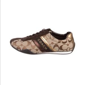 Brown Coach Jayme suede & canvas sneakers Sz 10